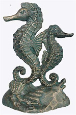 Verdigris Cast Iron Door Stop Green Seahorses