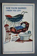 R&L Postcard: Comic, Married Life, Pram Cradle High Chair Baby Bath