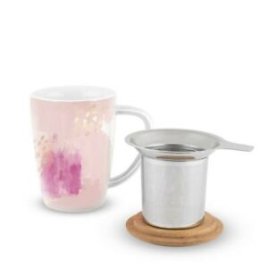 Pinky Up Pink 12 oz Bailey Ceramic tea mug and infuser Eco-Friendly
