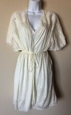 Vintage Adonna Cream White Nylon Lace Elegant Sweep Glam Nightgown Robe Small