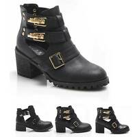 HEAVY NEW CUT OUT BOOT BLACK LEATHER STRAP BUCKLE SHOES BLOCK HEEL WOMENS