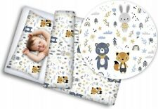 BABY 4PC BEDDING SET WITH PILLOW AND DUVET NURSERY 120X90CM Forest Friends