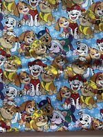 "Paw Patrol Cartoons Cotton Fabric Quarter 18"" x 22"" , Children, Masks, Blue"