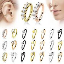 NEW Stainless Steel Crystal Nose Ring Ear Hoop Tragus Helix Cartilage Earring