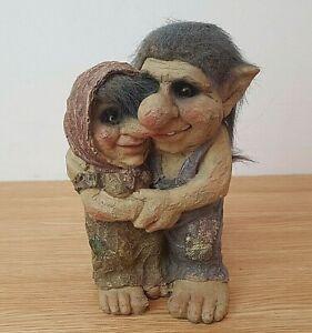 Norwegian Style Troll Couple Man and Woman Hugging Resin Figurine