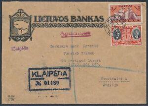 Litauen Bankbrief MiF Einschreiben Klaipeda 1934 Siegelmarke Manchester (4481)