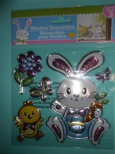 NEW FOIL Spring Easter Chick Boy Bunny Window Stickers Clings Decorations 5 pcs!