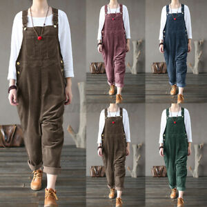 Women Casual Fall Wide Legs Trousers Dungaree Bib Cargo Pants Overalls Romper US