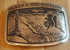 "BELT BUCKLE - ""ALASKA OIL PIPELINE""  - 1ST ED. BY ELDON- PEWTER"