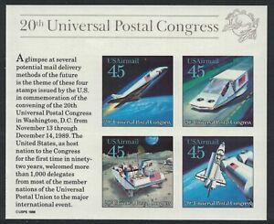 Scott C126- MNH S/s- Future Mail Transportation- 45c 1989- AIRMAIL, unused mint
