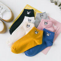 5 Pairs Women Fashion Cute Socks Ankle High Casual Cotton Breathable Solid Socks