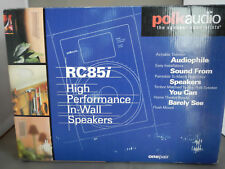 """NO TAX  POLK AUDIO RC85I 8"""" 2-WAY IN WALL SPEAKERS PAIR WHITE NEW IN BOX!"""
