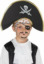 Boys Pirate Captain Hat With Skull and Crossbones Fancy Dress