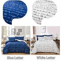 White&Blue Letters Quilt Doona Duvet Cover Set Queen Size Bedding New Pillowcase