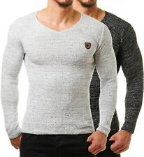 Burocs Herren Strick BR1464 Pullover Sweat Shirt Fitness Netz Body Slim Fit