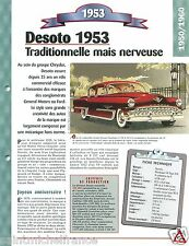 Desoto Firedome Type S16  V8 1953 USA Car Auto Retro FICHE FRANCE