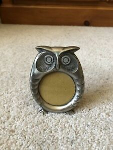 Small Owl Novelty Back Loading Free Standing 2x2 Picture Frame Metal