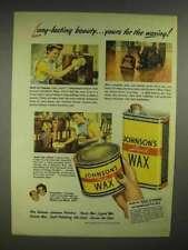 1946 Johnson's Liquid Wax, Paste Wax Ad - Beauty