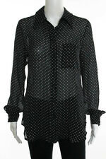 Calvin Rucker Black Silk Sheer Collared Polka Dot Button Front Top Size Extra Sm