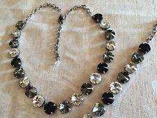Swarovski Crystal Elements  Necklace & Bracelet Black White 12mm Jewelry Sets