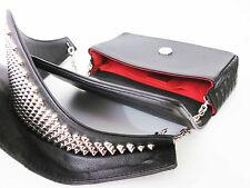 New Christian Louboutin Artemis Studded Shoulder Black Leather Bag