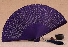 HIGH QUALITY Chinese Japanese Folding Bamboo Pocket Bird Flower Hand Fan Purple