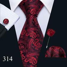 UK Mens Ties Red Burgundy Maroon Black Multi Pailsey Solid Striped Necktie Set