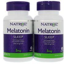 Natrol Melatonin 3 mg Twinpack Drug-Free Sleep Aid & Patterns- 2 x 60 Tablets