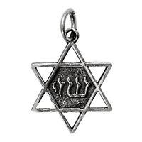 Blessed Shedai on Star of David Pendant Silver 925 Jewish Magen David Jerusalem