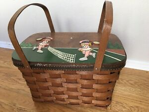 Vintage Painted 3D Tennis Girls Woven Large Wood Picnic Basket w/ Handles SIGNED
