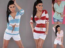 Gestreifte taillenlange Damen-Pullover & -Strickware mit V-Ausschnitt