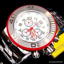 Invicta Sea Hunter 58mm Red Chronograph White MOP Steel Swiss Made Watch New