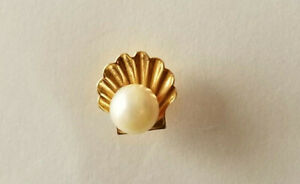 Vintage 14K Gold Tie Tack with Pearl 1972