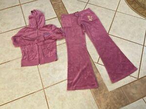 juicy couture Lavender tracksuit hooded jacket Sz L Pants Sz M