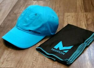 MISSION HYDRO ACTIVE TURQUOISE COOLING CAP/HAT + BLACK TOWEL NEW