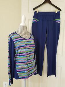 Womens Athletic Gym Yoga 2 Pc.Top & Pants Suit Navy Blue Multi Stretch Sz. L