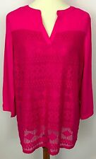 Zac + Rachel Hot Pink Lace Layer Front 3/4 Sleeve Top Blouse Tunic Size L