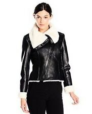 Steve Madden Black Leather Jacket With Fur Womens Small NEW