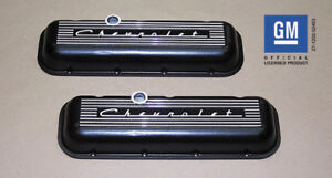 Chevrolet 396 427 454 502 Big Block Valve Covers with Raised Logo Black PML