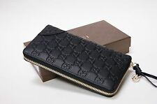 New Authentic Gucci Sukey Black Guccissima Leather Zip Around Wallet Clutch