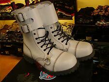 Anfibi 10 fori fibbie Nevermind  unisex rock punk biker pelle bianchi steel toe