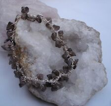 Sterling Silver & SMOKY QUARTZ Bracelet. HAND CRAFTED. In a pouch.