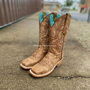 Corral Women's Sand Embroidery Square Toe Western Boots A4143