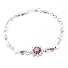 Fashion Red Ruby White Crystal Flower Bracelet Sterling silver Jewelry