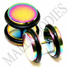 "2120 Fake Cheater Illusion Faux Plugs 16G Steel 1/2"" 12mm Multi-Color Largest"