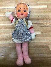 Vintage Rubber Face Waving Doll 1960s Rag Pram Doll With Squeak Crying
