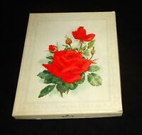 Vintage Hallmark Boxed Stationary Red Roses Plain Decorated Sheets Envelopes