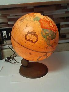 1980 ANTIQUE USSR Made DENMARK READERS DIGEST WORLD SPOT GLOBE & LIGHT Spins