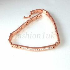 Unisex Rose Gold Plated Simulated Diamond Watch Bracelet 20.5cm 8 inches