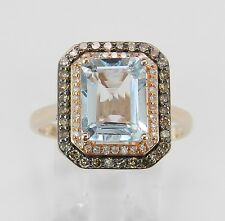 Aquamarine and Cognac Diamond Halo Engagement Ring 14K Rose Gold Size 8